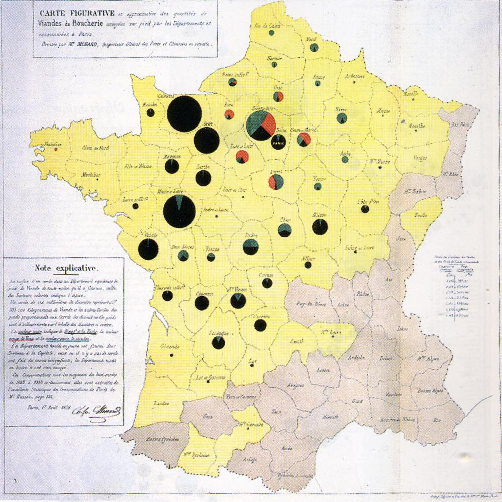 Il. 3. Charles Minard (1858) — Konsumpcja mięsa przez paryżan